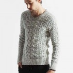 powder mix cable knit V/N